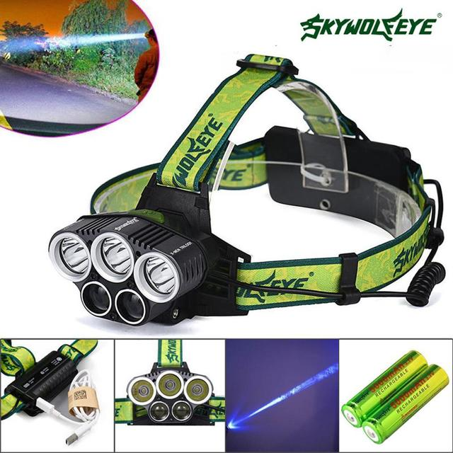 SKYWOLFEYE 15000 LM   T6 5 x LED Headlamps zoom Rechargeable waterproof headlight 18650 Hunting Fishing Torch +USB Cable
