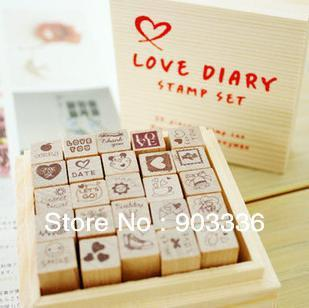 LOVE STAMP Wooden Stamps Wood Crafts For Gifts DIY Decoration Souvenir  25pcs/set Diary Stamps Scrapbooking Stamp  Free Shipping