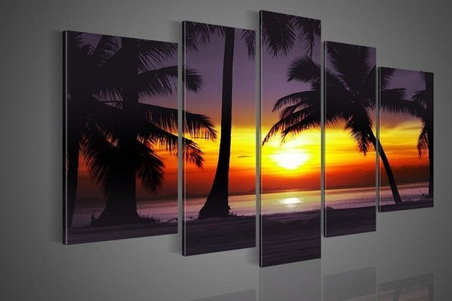 hand-painted  wall art Coconut island ocean sunrise home decoration abstract  Landscape oil painting on canvas 5pcs/set mixorde