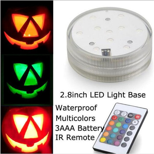KITOSUN 3AAA Battery Operated Waterproof Submersible Round Mini LED Light with Remote Controller for Halloween Pumkin Decoration