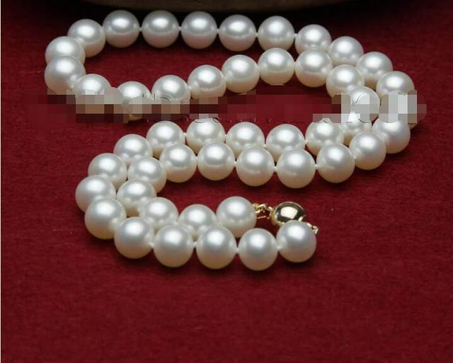 hot-selling   Best quality AAA+ 9-10mm white freshwater mother of pearls necklace