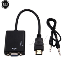 MINI HDMI to VGA Adapter Converter HDMI2VGA Digital to Analog with HDMI to VGA 3.5mm for headpone Jack Audio Cable for monitor