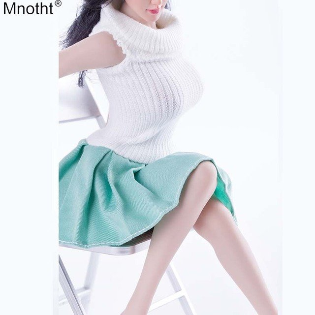 Mnotht 1/6 Female Soldier Sleeveless White Sweater Blue Pleated Skirt MIni Dress Toy For 12'' Large Middle Chest Action Figure C