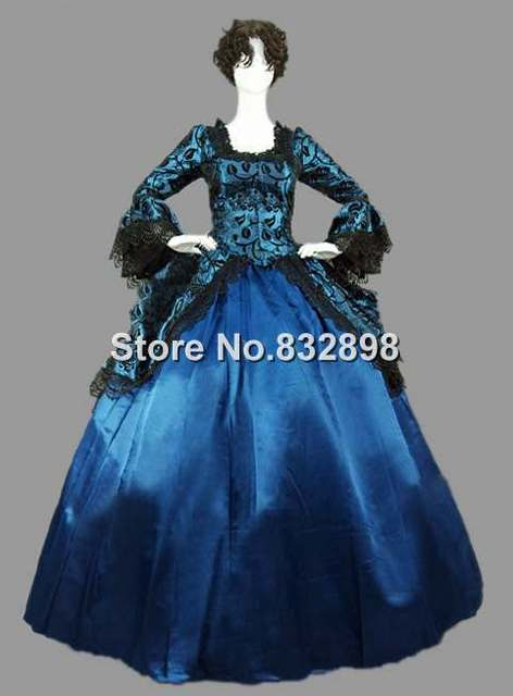 Victorian Dark Gothic Faux Suede Ball Gown Dress Reenactment Clothing