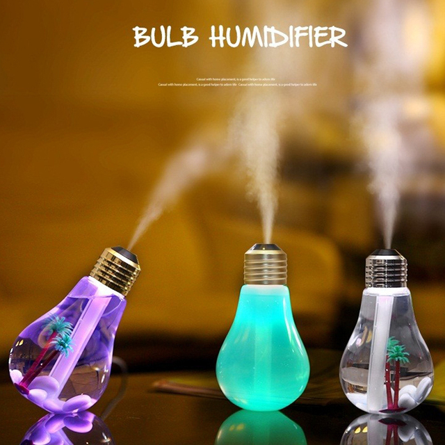 USB Ultrasonic Humidifier Home Office Mini Aroma Diffuser LED Night Light Aromatherapy Mist Maker Creative Bottle bulb air clean