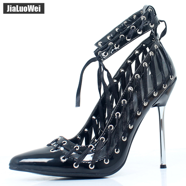 jialuowei New Summer WOMENS HIGH STILETTO HEEL LACE UP Sandals SEXY FETISH GOING OUT COURT SHOES LARGE SIZES 36-46