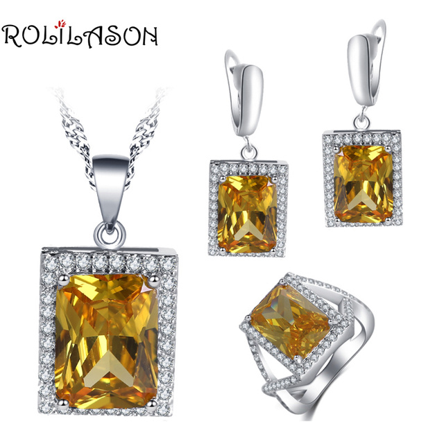 ROLILASON Romantic anniversary gift For girl Yellow Zircon Square Design 925 Silver Earrings Necklace Rings Jewelry Sets JS752