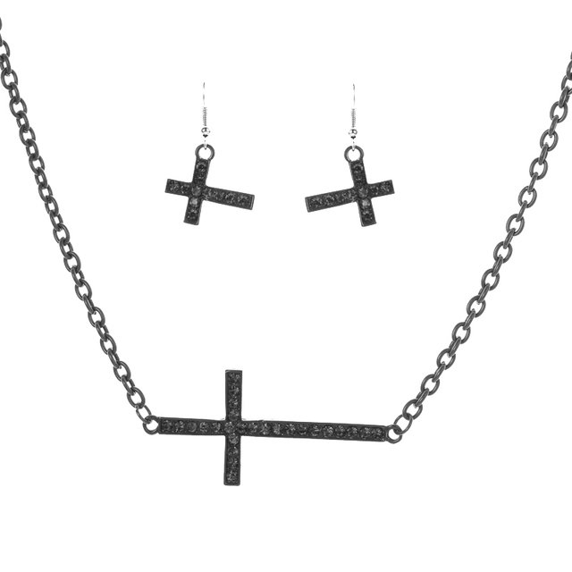 Hiphop Fashion Rhinestone Cross Necklace Set Colored Painting Alloy Cross Jewelry