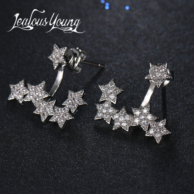 2017 New Fashion Star Starfish Stud Earrings with AAA+ Cubic Zirconia Earings for Women Studs Ear Jewelry Brincos AE436