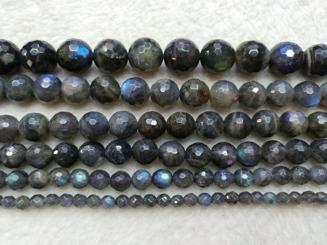 "100% Natural Labradorite Gem stone beads 4mm,6mm, 8mm,10mm,12mm Faceted Round Labradorite Gem stone Jewelry Beads 15.5"" strand"
