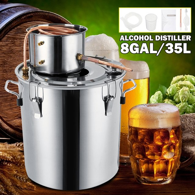 YKPuii 8GAL/35L Litres DIY Home Brew Distiller Moonshine Alcohol Still Stainless Copper Water Wine Essential Oil Brewing Kit