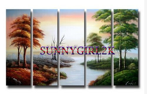 Hand-painted Modern Canvas Tree Wall Art Landscape Oil Painting (No frame)