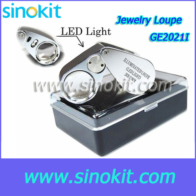 Free Shipping LED  20x Diameter 21mm Coated Optical Glass lens Jewelry Loupe - GE2021I