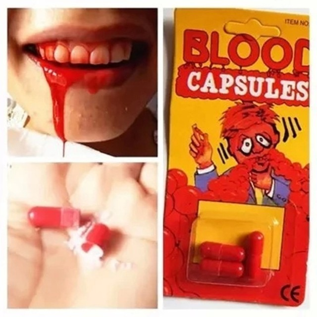 5 PCS April Fool's Day Joke Toys Funny Blood Pill Trick Toys Whimsy Prop Vomiting Blood Capsule