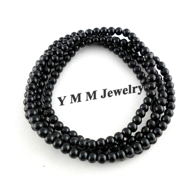 Fashion 4mm Black Glass Beaded Bracelets 4 Rows Enlaced Bracelets 12pcs/lot Wholesale