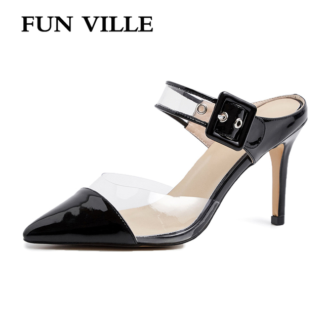 FUN VILLE New Fashion transparent Summer Women Slippers Patent Leather High Heels Shoes sexy ladies shoes Outside Slippers