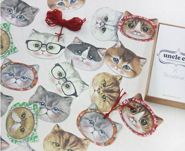 10set/lot Cute Uncle Cat Bookmark set / 20pcs bookmark + 70pcs sticker + 10pcs card / office school supplies Wholesale
