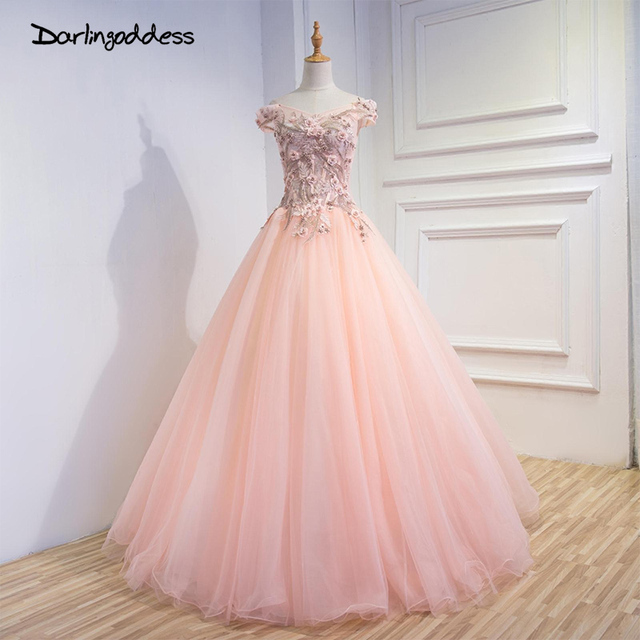 Elegant Long Evening Dresses Gowns 2017 Women Prom Champagne A Line Beaded Flowers Lace Up Cheap Formal High Quality Party Dress