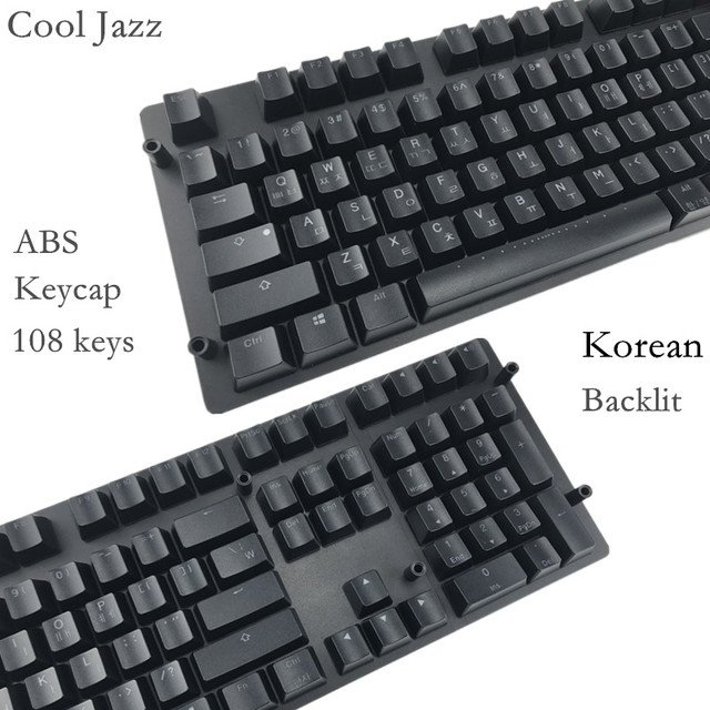 Korean characters 108 keys ANSI  layout  ABS Backlight  Keycap OEM Profile For Cherry MX Switches Mechanical Gaming Keyboard