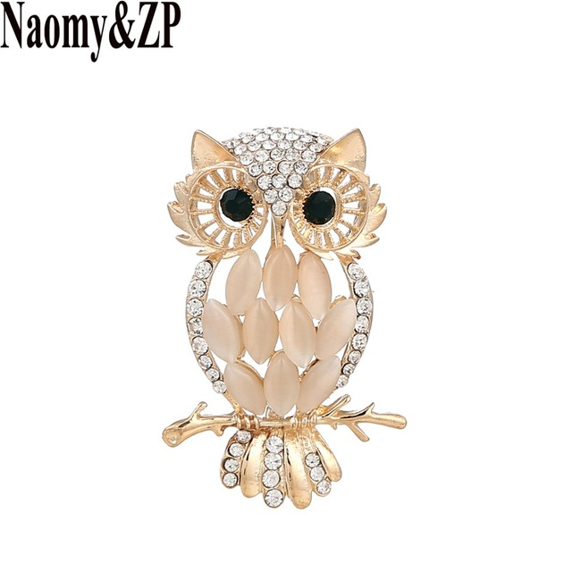 Naomy&ZP Owl Brooches For Women Crystal Rhinestone Insect Enamel Brooch Pin Wedding Brooches And Pins Broches Fashion Jewelry