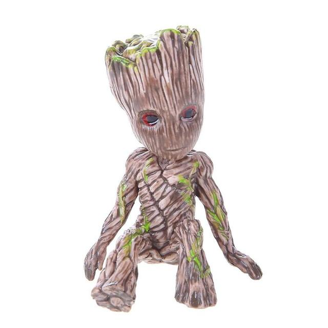 Cartoon PVC Action Figure Galaxy Sitting Tree Man Model Baby Toy Desktop Decor Gift Christmas Home Decoration Gift For Children