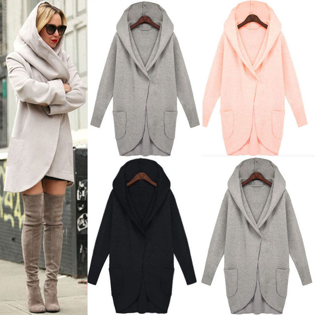 Autumn and winter long-sleeved hooded fashion loose woolen coat pocket Plus Size Long Coats Fashion Women's  Coats