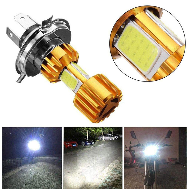 1Pcs H4 LED 3 COB Motorcycle Headlight Bulb 6000K Hi/Lo Beam Light White 2000LM 18W