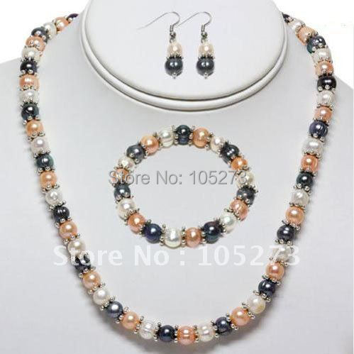 Amazing! pearl jewelry set AA 7-8MM White pink black color freshwater pearl silvers necklace bracelet earring Free shipping N135