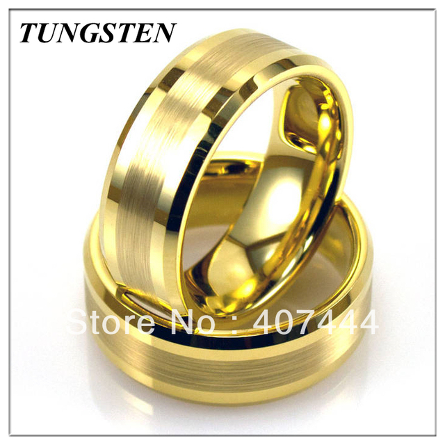 Wholesales Cheapest Price 10 pieces /lot Free Shipping 8MM Tungsten Gold Brushed Center Strip Ring Men's Ring