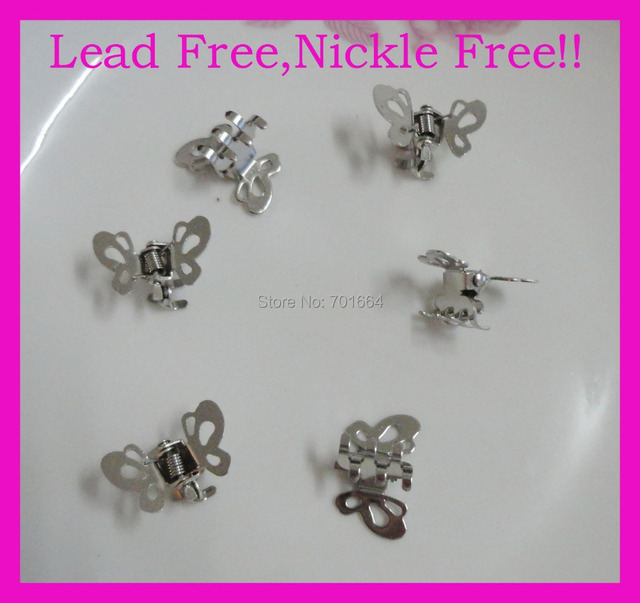 30PCS 1.2cm silver finish thick Butterfly styles plain Metal Hair Claws at lead free and nickle free,Bargain for Bulk