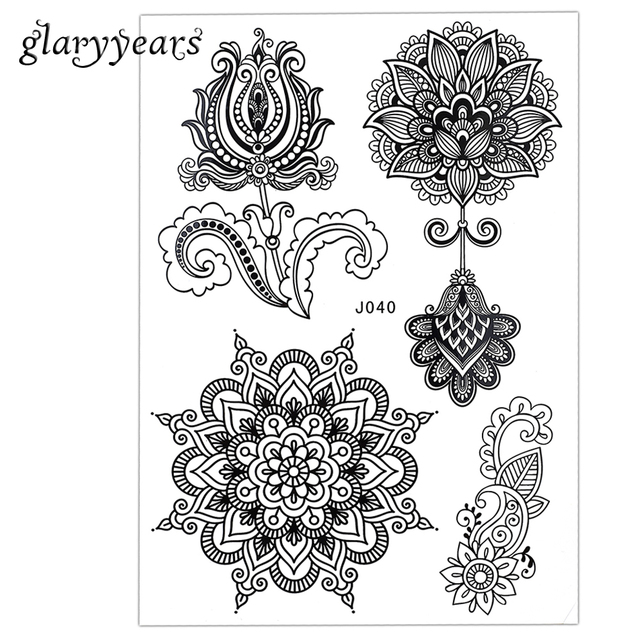 1PC New Mixture Picture Designs for Sexy Women Body Beauty & Health Henna BJ040 Lotus Flower Lace Mehndi Temporary Tattoo Paster