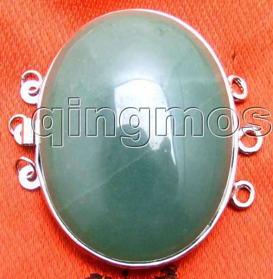 SALE Big 32*42mm Oval natural Green jade Three strands Clasp-gp175 Wholesale/retail Free shipping