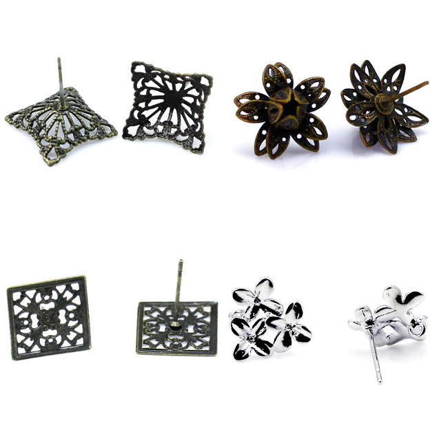 Beadsnice earring stud components DIY jewelry make supplie nice for handmake gift brass flower earrings without ear nut ID32232
