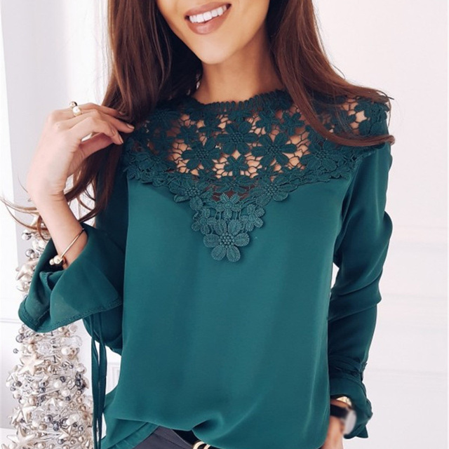 Ebizza Floral Patchwork Crocheted Lace Chiffon Women Blouses Casual Shirts Long Sleeve Hollow Out Blusas Feminina Spring Tops