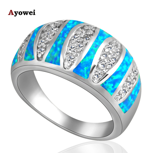 Nobby style design Blue fire Opal Silver Stamped Zirconia Rings fashion jewelry USA size #6 #6.5 #7.5 #8.5OR342A