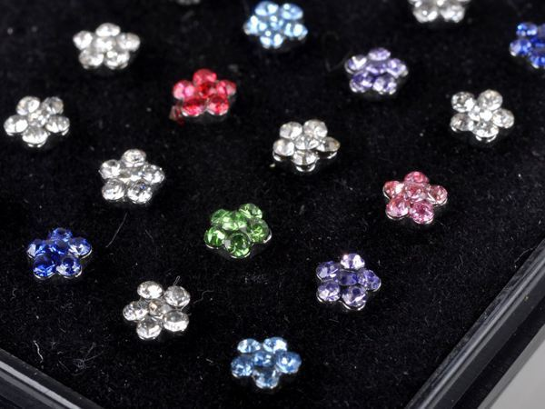 Chic Fashion new arrival nose stud body jewelry mixed colors 24pcs/lot Crystal Stainless steel piercings Unisex Jewelry