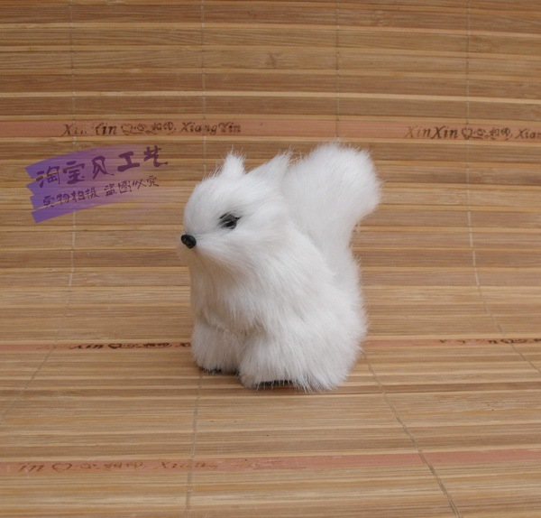 mini simulation Squirrel toy polyethylene & furs white Squirrel doll gift about 8x5x8cm 0921