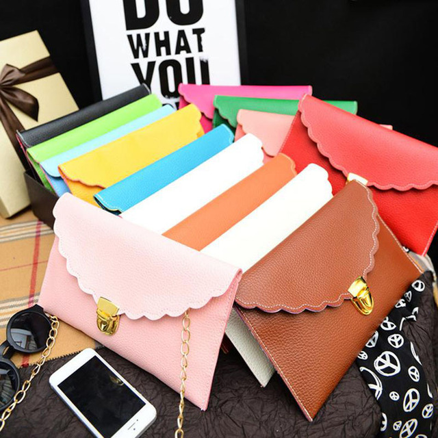 NEW scalloped edges envelope clutch bag lady shoulder bags with chain women day clutches purse Wholesale