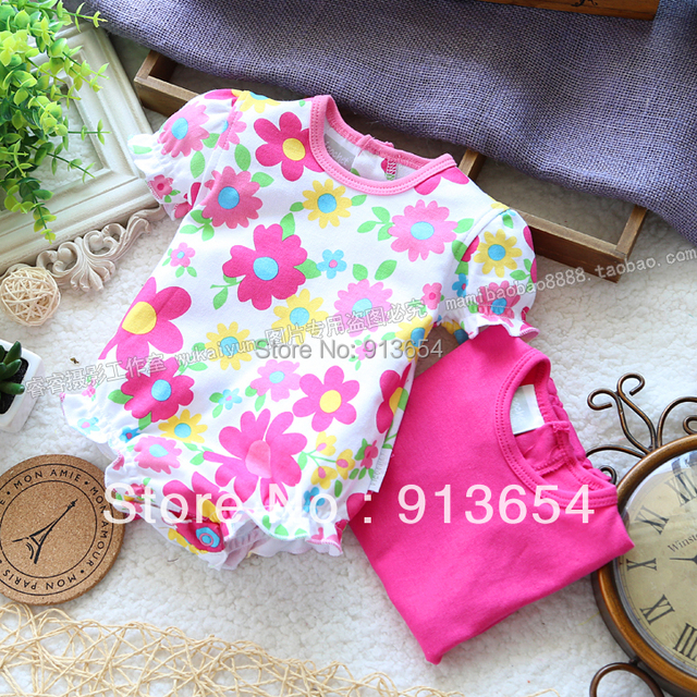 new 2017 summer style bodysuit baby clothes newborn infantil Short sleeve flowers triangle bodysuits baby girl cute jumpsuit