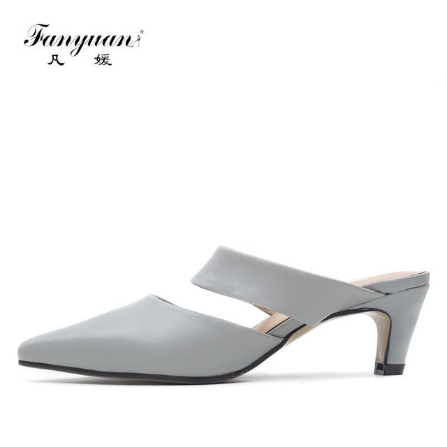 Fanyuan High-end Women's High Heel Mules Shoes Genuine Leather Ladies Party Wear Heels Pointed Toe Sexy Ladies Nightclub Shoes