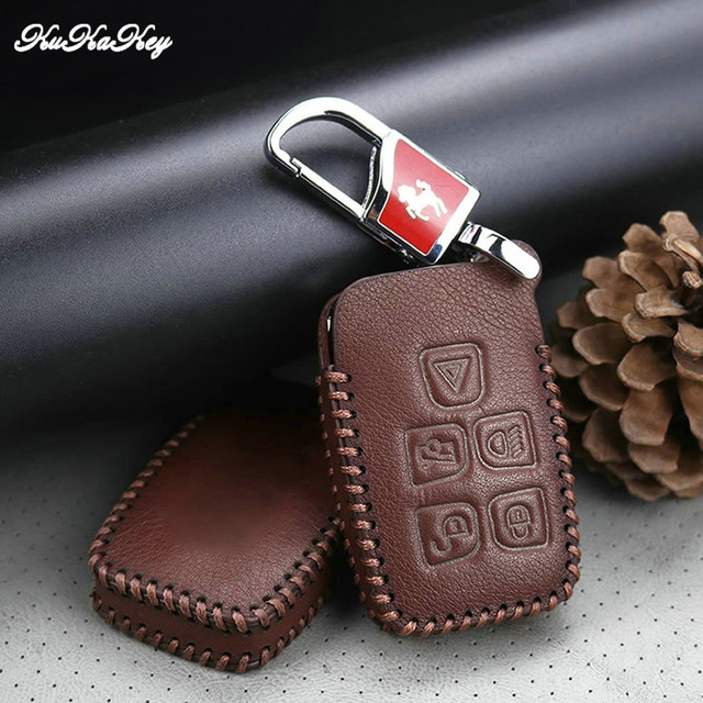 Leather Car Key Fob Protective Cover Case Skin For Landrover Discovery 4 Freelander 2 Range Rover Evoque 5 Button Smart Keychain