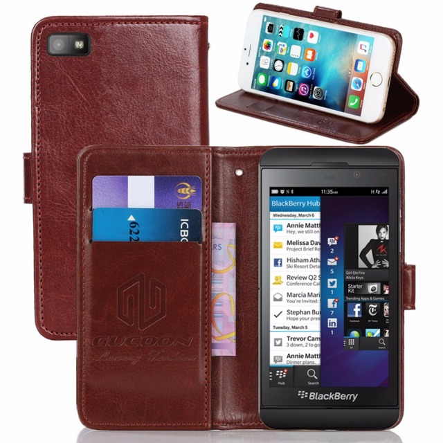 GUCOON Vintage Wallet Case for BlackBerry Z10 4.2inch PU Leather Retro Flip Cover Magnetic Fashion Cases Kickstand Strap