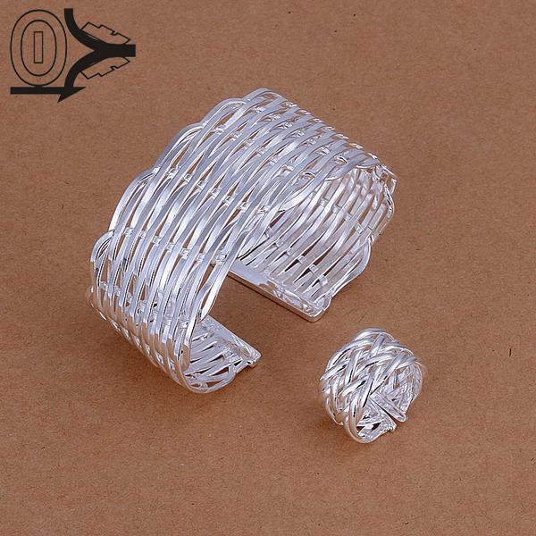 Hot Sale Silver Plated Jewelry Set,Cheap Bridal Party Sets,Flat Braid WeaveS Bangle ring Two-piece