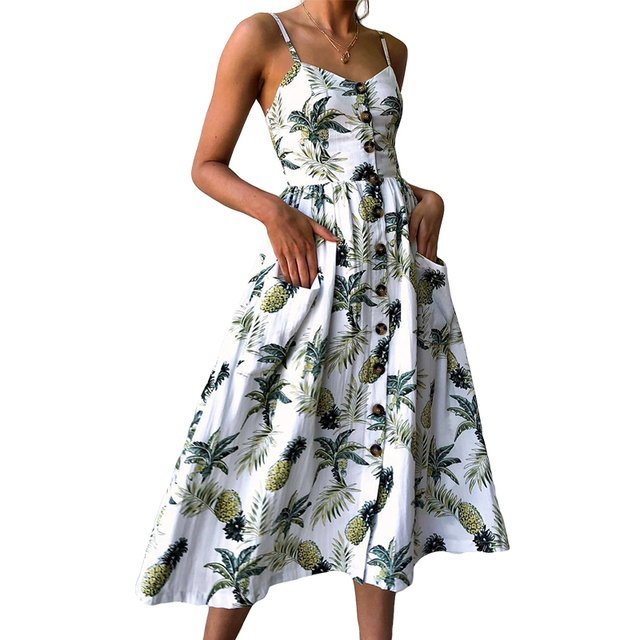 Sexy V Neck Backless Floral Summer Beach Dress Women White Boho Striped Button Sunflower Daisy Pineapple Party Midi Dresses