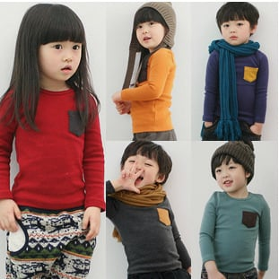 Long Sleeve Fashion Cotton T-shirts Solid Kids Girls T-shirt Kids Tops Tees Girl  Boy's T Shirt Unisex Casual Children T Shirts