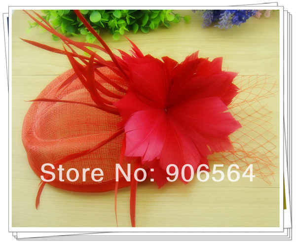 sinamay hats fascinator hair accessories cocktail hat party hats feather millinery headwear Free shipping 3color 4Pcs/lot MSF284