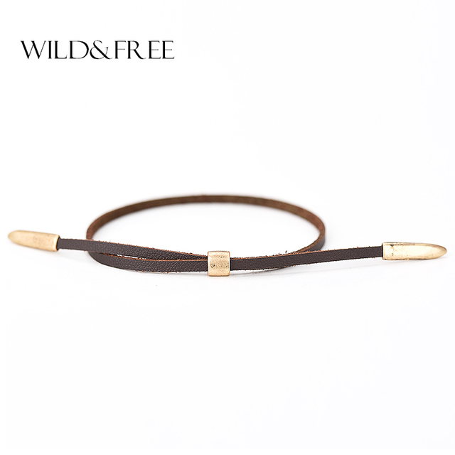 Women Fashion Leather Bracelets Jewelry Vintage Antique Gold Alloy Ends Double Layer Summer Charm Bracelets & Bangles For Girl