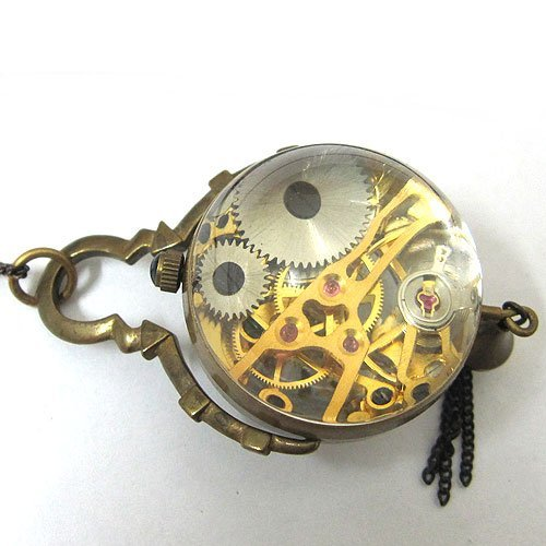 See Through Antique Bronze Pocket Watch CAIFU Bell Xmas