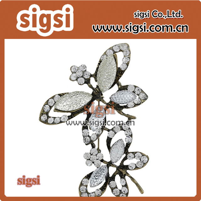Retro double butterfly shape rhinestone brooch for gift