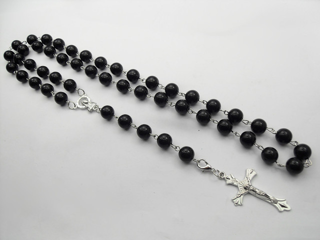 New Black plastic Rosary Beads Necklaces for men and women Beckham Cross Pendant necklace handmade jewelry the best gifts